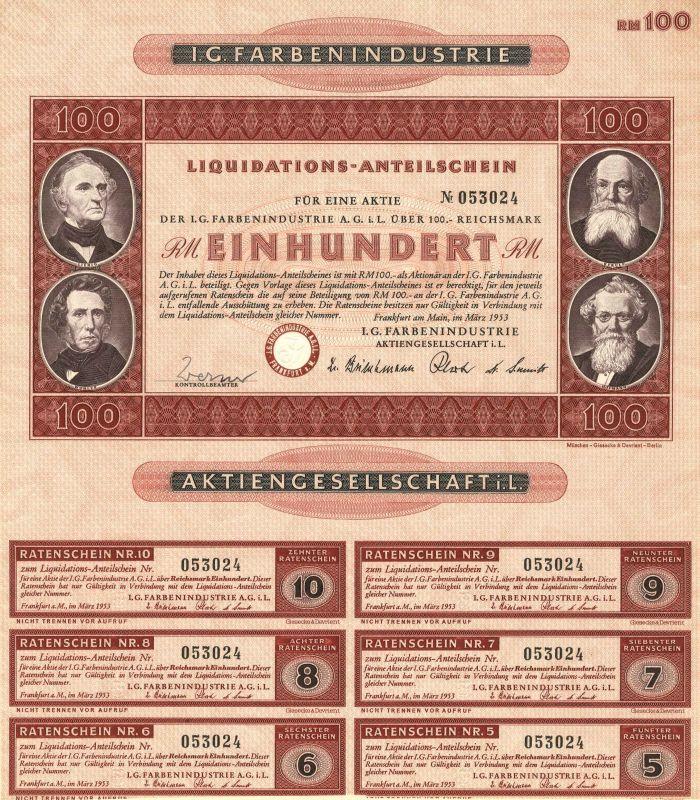 I.G. Farbenindustrie - Stock Certificate