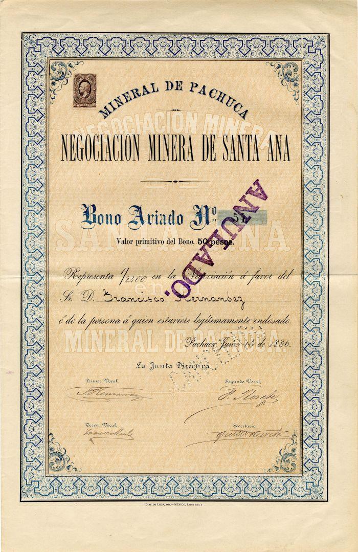 Mineral De Pachuca Negociacion Minera De Santa Ana - Stock Certificate