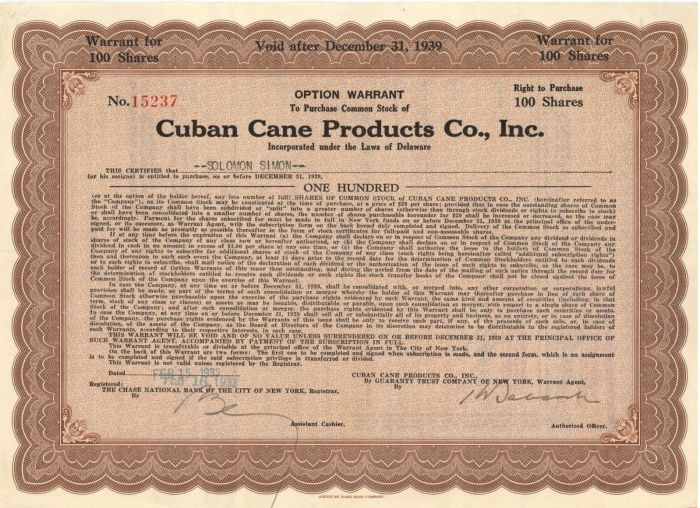 Cuban Cane Products Co., Inc. - Stock Certificate