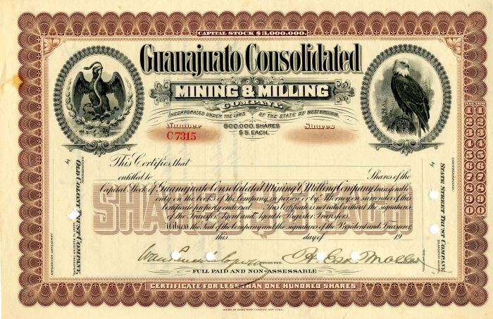 Guanajuato Consolidated Mining and Milling Company - Stock Certificate