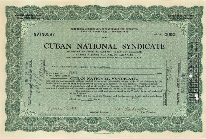 Cuban National Syndicate - Stock Certificate
