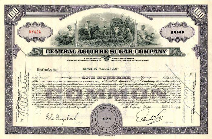 Central Aguirre Sugar Company - Stock Certificate