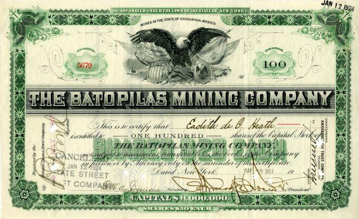 Batopilas Mining Company - Stock Certificate