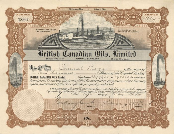 British Canadian Oils, Limited - Stock Certificate