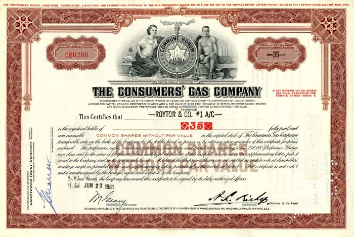 Consumers' Gas Company - Stock Certificate