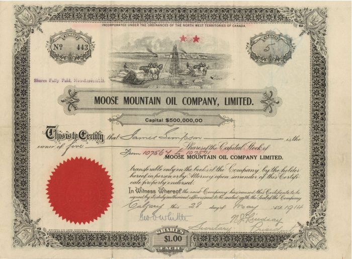 Moose Mountain Oil Company, Limited - Stock Certificate