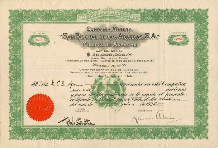Compania Minera San Pascual De Las Adargas, S.A. - Stock Certificate