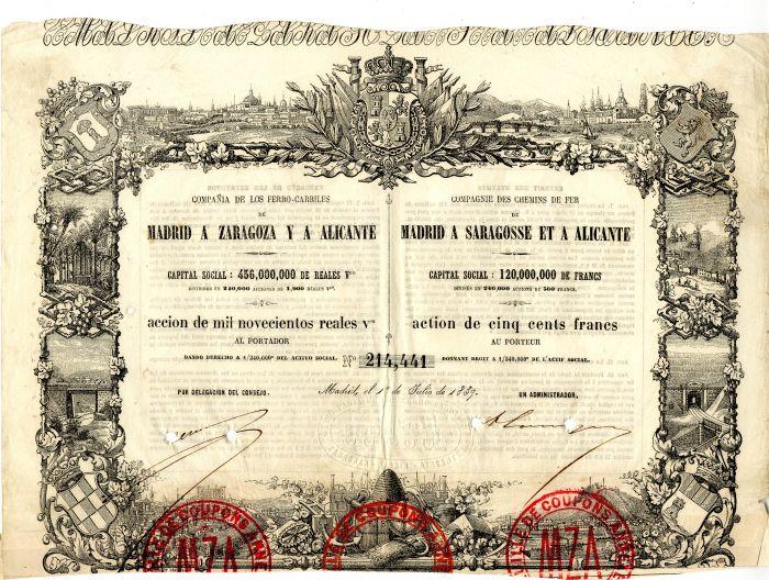 Compania De Los Ferro-Carriles De Madrid A. Zaragoza Y A Alicante - Stock Certificate