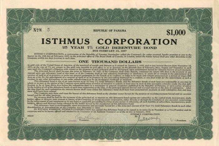 Isthmus Corporation - Bond