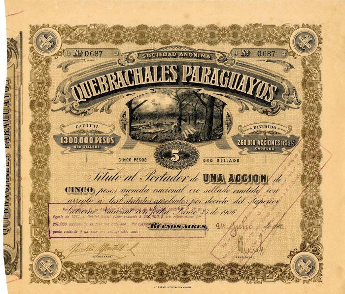 Sociedad Anonima Quebrachales Paraguayos - Stock Certificate