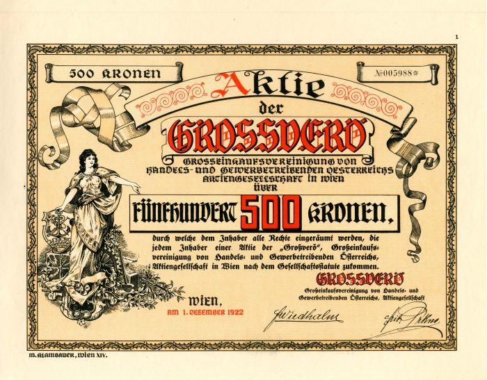 Aktie der Grossoero - Stock Certificate