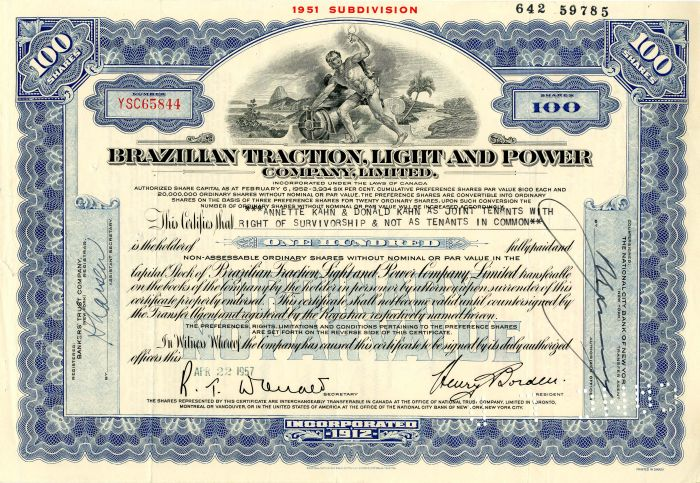 Brazillian Traction, Light and Power Company, Limited - Stock Certificate