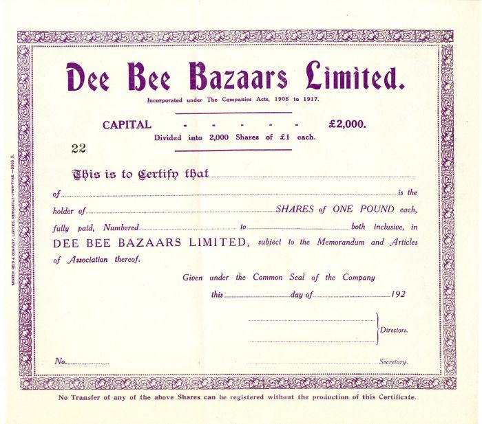 Dee Bee Bazaars Limited