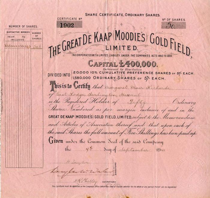 Great De Kaap Moodies Gold Field, Limited