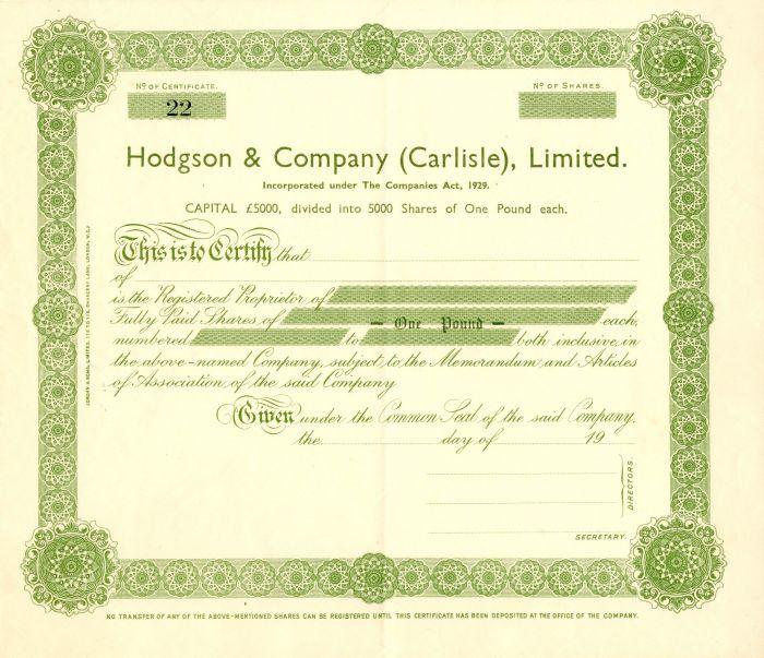 Hodgson and Company (Carlisle), Limited