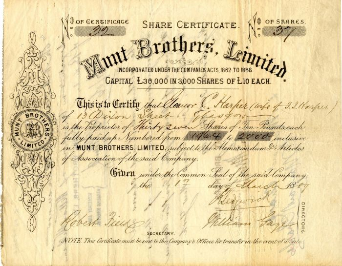 Munt Brothers, Limited - Stock Certificate