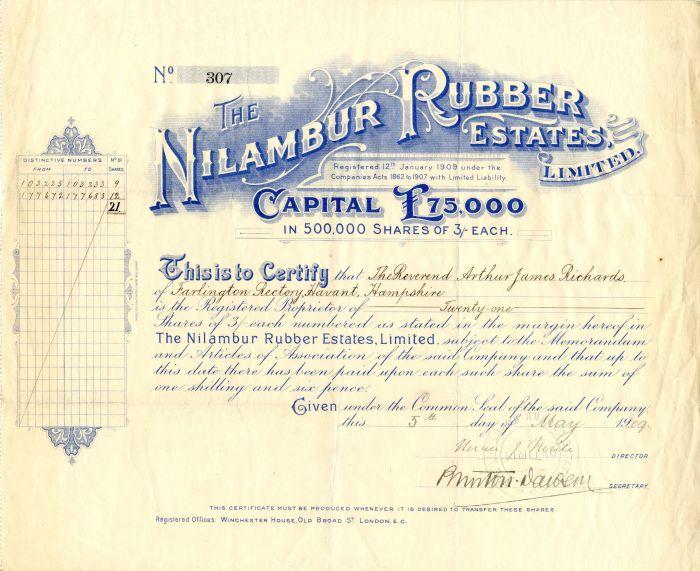 Nilambur Rubber Estates, Limited