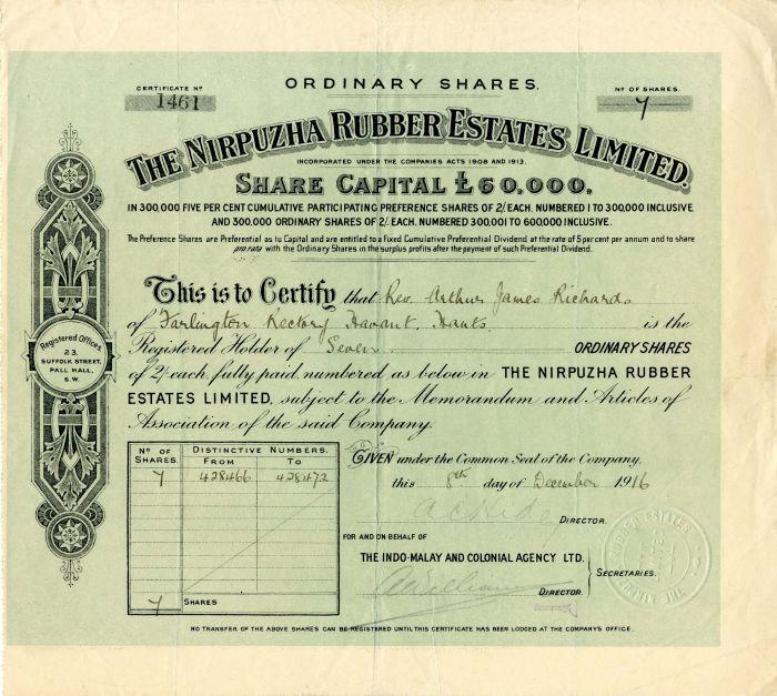 Nirpuzha Rubber Estates Limited