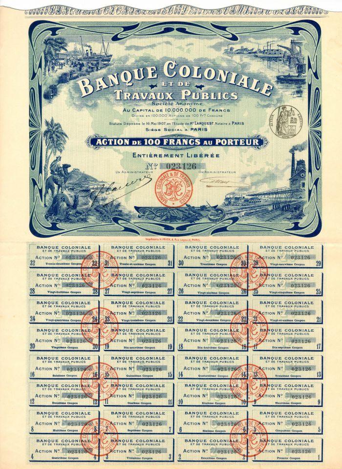 Banque Coloniale Et De Travaux Publics - Stock Certificate