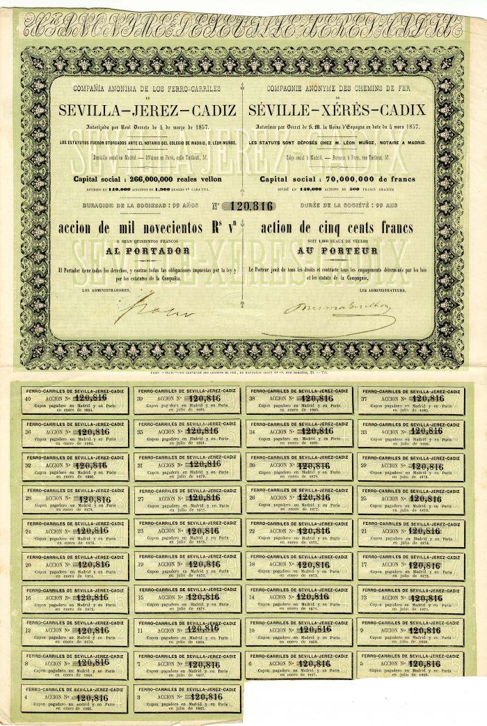 Compagnie Anonyme Des Chemins De Fer De Seville-Xeres-Cadix