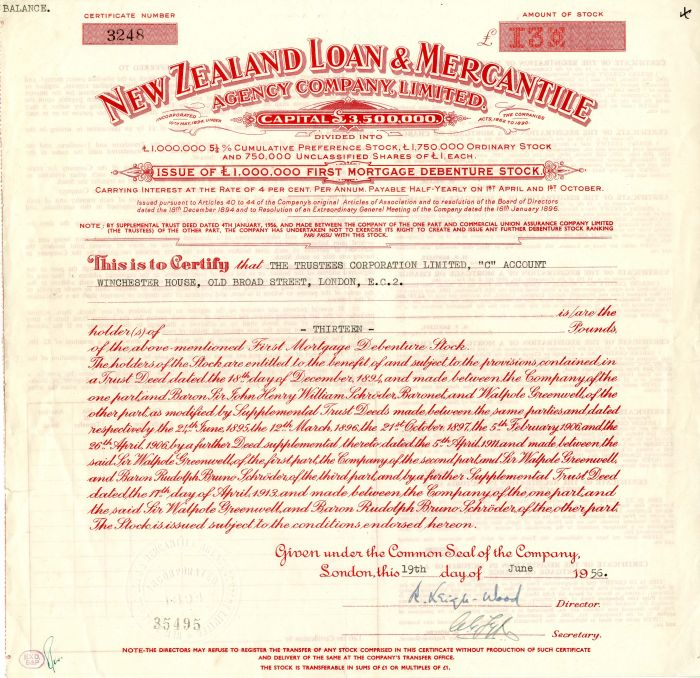 New Zealand Loan and Mercantile Agency Company, Limited - Stock Certificate