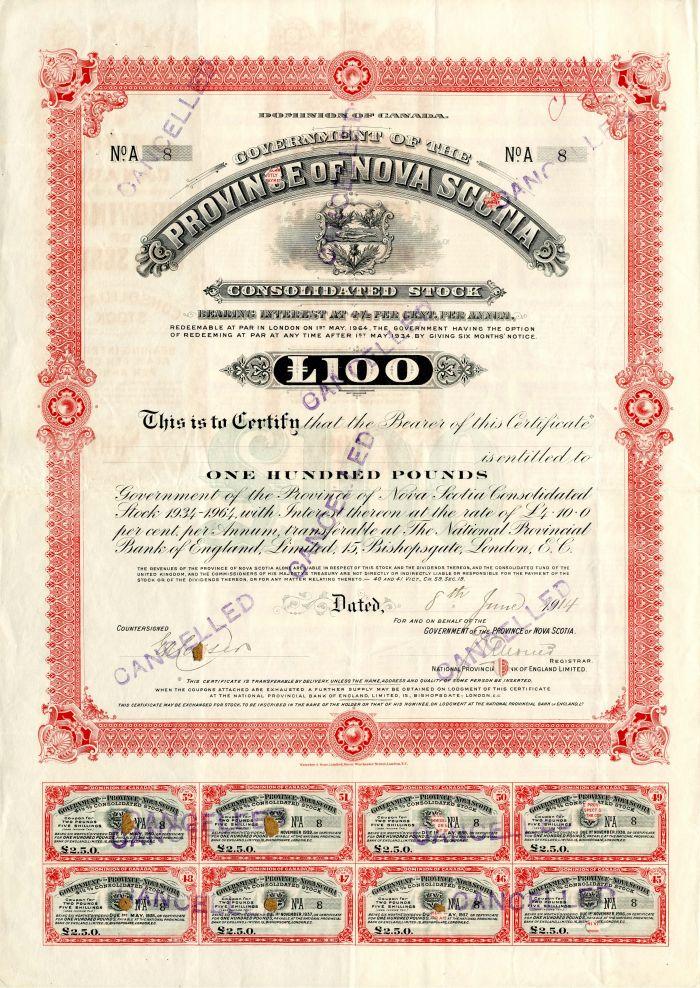 Dominion of Canada Government of the Province of Nova Scotia