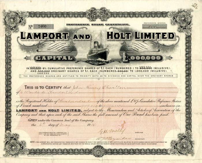 Lamport and Holt Limited - Stock Certificate