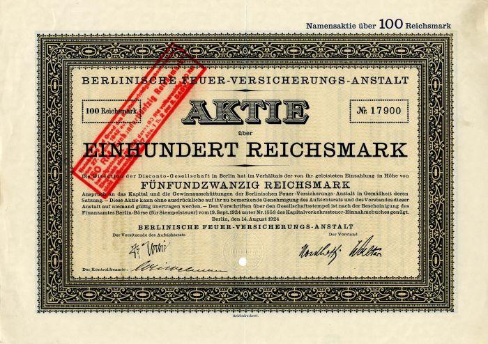 Berlinische Feuer-Versicherungs-Anstalt (Berlin Fire Insurance Company) - Stock Certificate
