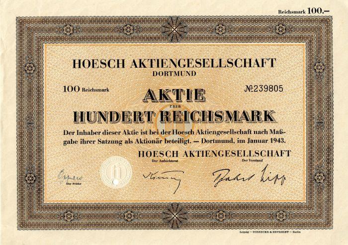 Hoesch Aktiengesellschaft Dortmund - Stock Certificate