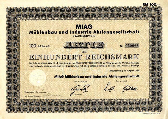 Miag Muhlenbau und Industrie Aktiengesellschaft - Stock Certificate