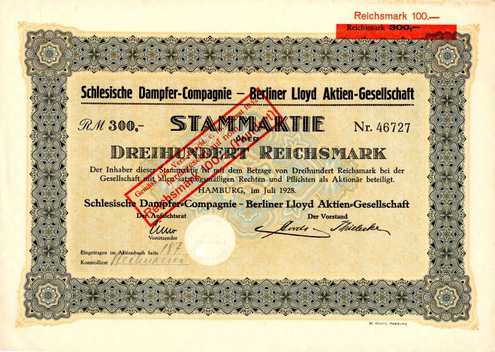 Schlesische Dampfer-Compagnie-Berliner Lloyd Aktien-Gesellschaft - Stock Certificate