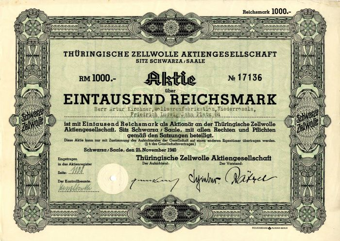 Thuringische Zellwolle Aktiengesellschaft - Stock Certificate