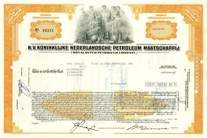 N.V. Koninklijke Nederlandsche Petroleum Maatschappij - Stock Certificate