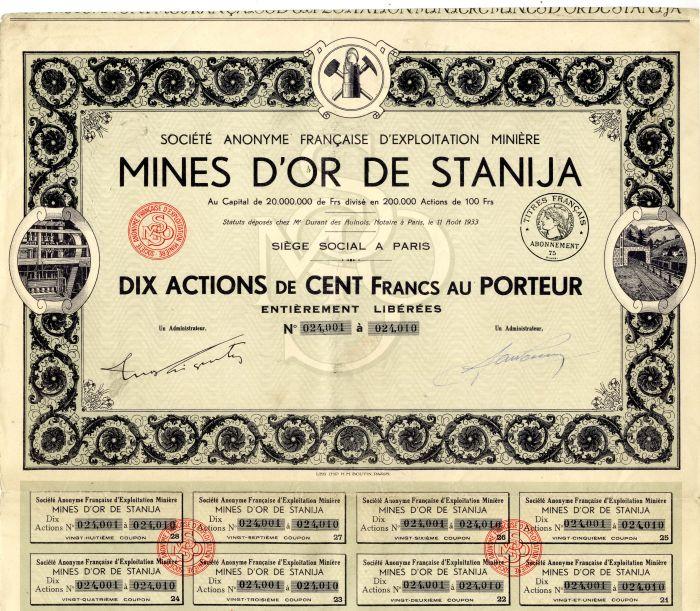 Societe Anonyme Francaise D'exploitation Miniere Mines D'Or De Stanija
