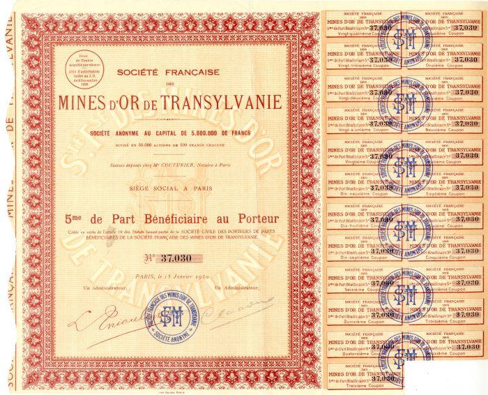 Societe Francaise Des Mines D'Or De Transylvanie
