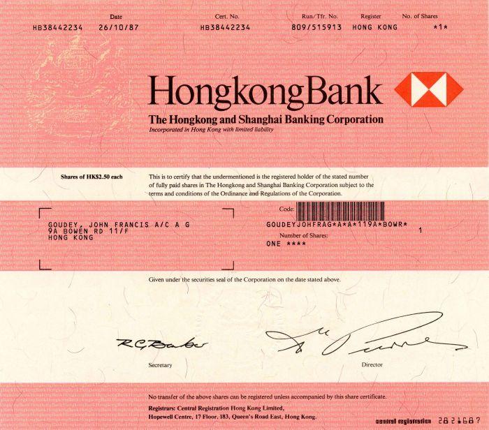 Hongkong and Shanghai Banking Corporation - Stock Certificate