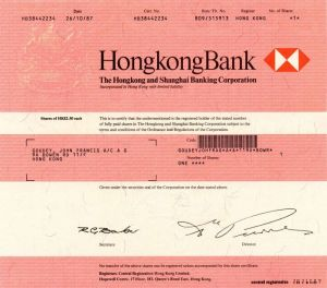 Hongkong and Shanghai Banking Corporation - Stock Certificate - SOLD