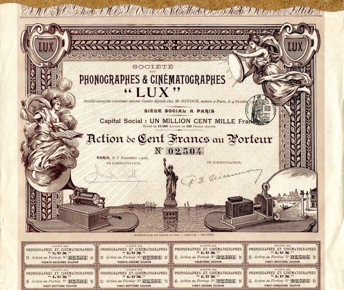 "Societe des Phonographes and Cinematographes ""LUX"" - Stock Certificate"