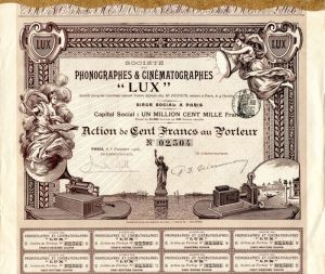 "Societe des Phonographes and Cinematographes ""LUX"" - Stock Certificate"