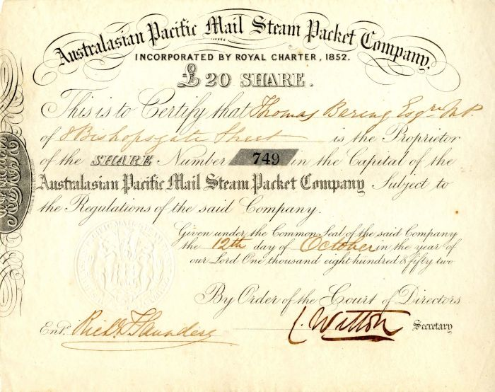 Australasian Pacific Mail Steam Packet Company - Stock Certificate