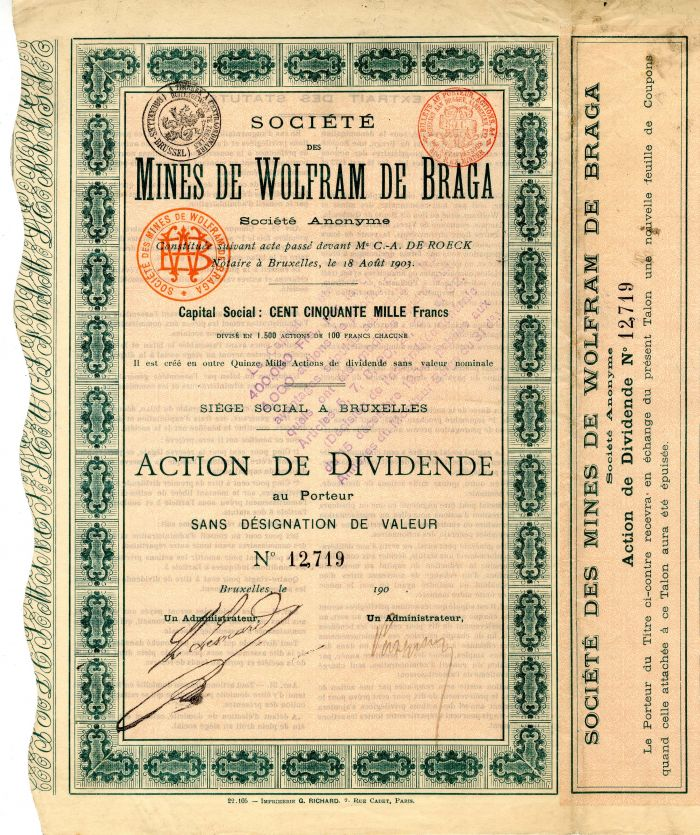 Societe Des Mines De Wolfram De Braga - Stock Certificate