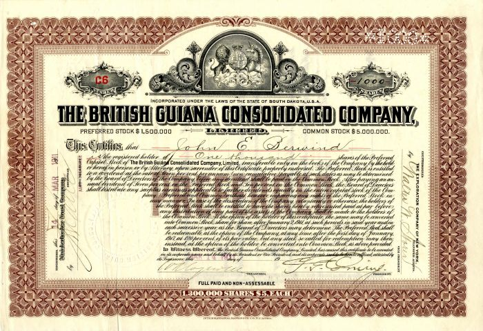 British Guiana Consolidated Company, Limited - Stock Certificate