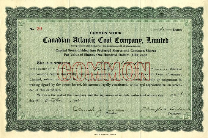 Canadian Atlantic Coal Company, Limited - Stock Certificate