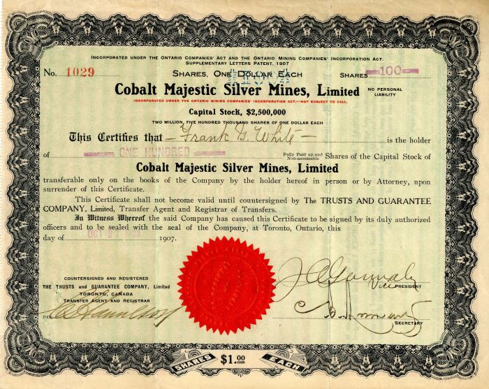 Cobalt Majestic Silver Mines, Limited - Stock Certificate