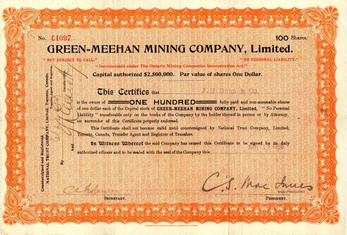 Green=Meehan Mining Company, Limited - Stock Certificate