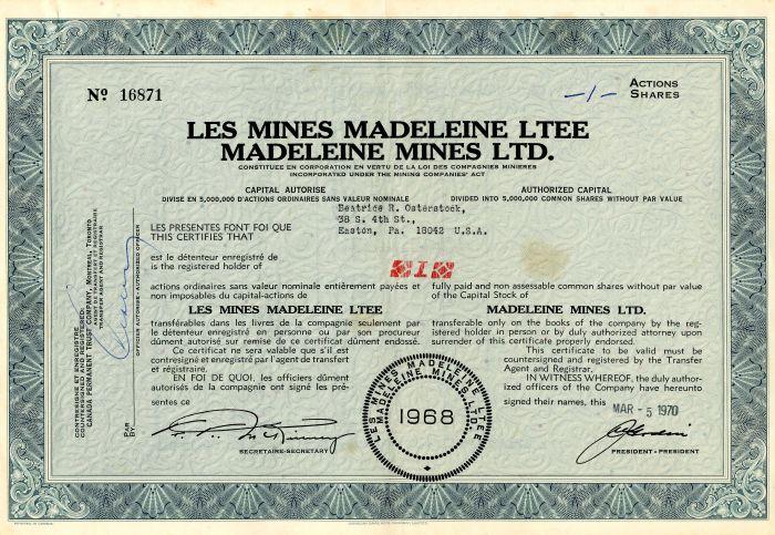 Les Mines Madeleine Ltee Madeleine Mines Ltd. - Stock Certificate
