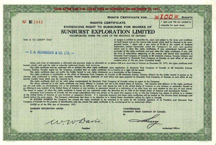 Sunburst Exploration Limited - Stock Certificate