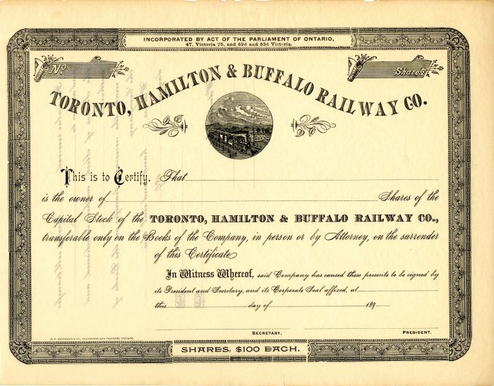 Toronto, Hamilton and Buffalo Railway Co. - Stock Certificate