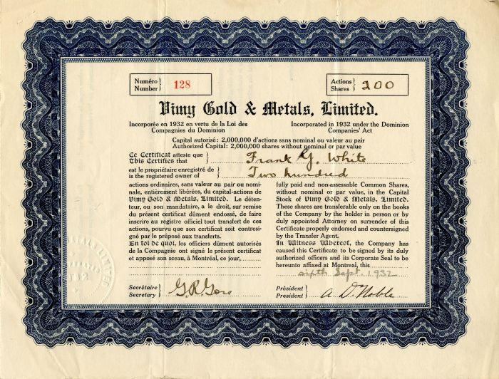 Vimy Gold and Metals, Limited - Stock Certificate