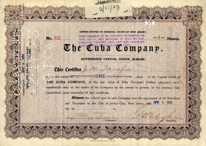 Cuba Company - Stock Certificate